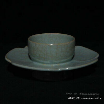Marked Old China Ancient Ru Kiln Porcelain Pottery Cup Tea Saucer XZS