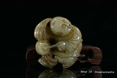 Rare Chinese Natural HeTian Jade Hand-carved Boy Child Pendant Amulet JJO