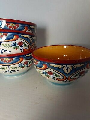 Euro Ceramica, Ceramic SOUP CEREAL BOWLS Set of 4