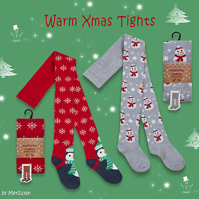 1 2 Pairs Kids Girls Christmas Xmas Tights Cotton Rich Snowman Penguin Warm NEW