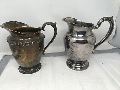 """Lot 2 Silverplate Pitchers WM Rogers Fenwick Water Pitcher 8"""" Silver Plated"""