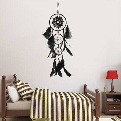 Handmade Dream Catcher Black Feather Wood Beads Balcony Room Wall Hanging