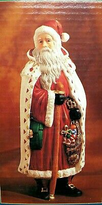 """Tradition Xmas Porcelain Collectable Santa Claus White Cape 8"""" Hand Painted"""