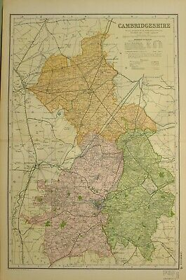 1902 Map Cambridgeshire March Ely Newmarket Linton Cambridge Royston