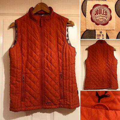 JOULES Coral Red Pink Bodywarmer Quilted Gilet Size 10 Equestrian Autumn Coat