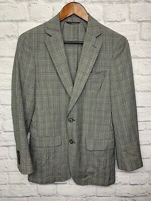 $295 Michael Kors Mens Gray Wrinkle Plaid Wool Slim Fit Sport Coat Blazer 36R
