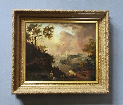 Antique 19th Century Hudson River Valley Oil Landscape Painting