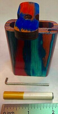 "US Seller 3"" Wooden Tobacco Dugout Set with pipe Loaded (2"" Metal One Hitter)"