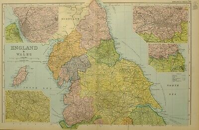 1902 Map England & Wales Northern Liverpool Birkenhead Leeds Newcastle York