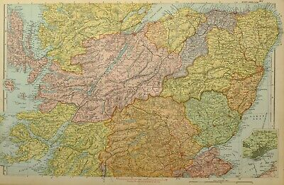 1902 Map Central Scotland Inverness Banff Aberdeen Forfar Dundee Nairn Elgin