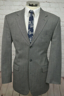 Stafford Mens Gray Wool CLASSIC FIT Pleated Front 2 Piece Suit 42L 35Wx32L