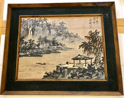 "RARE EARLY ANTIQUE! Painting On Silk SIGNED CHINESE Detailed 27.5""x22.5"" Asian"
