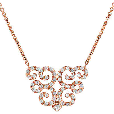 14 KT Pave Rose Gold Filigree Scroll Design Diamond  Chain Necklace NEW