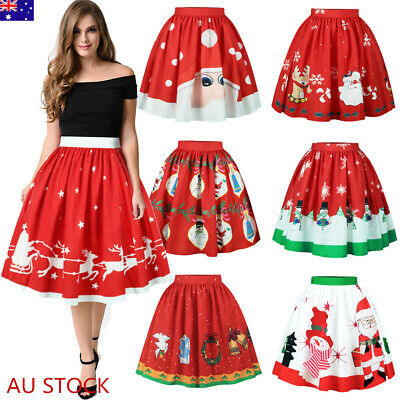 Womens Xmas Santa Snowman Skater Pleated Skirts Christmas Party Swing Dress