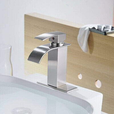 "Brushed Nickel Bathroom Basin Faucet Vanity Sink with 6"" Cover Plate Mixer Tap"