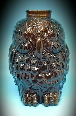 Vintage Wheaton Glass Wise Old Owl Bank Brown Glass