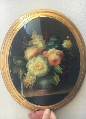 Antique french flower in gilded oval frame small scratch on frame
