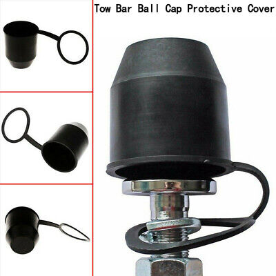 1X PVC Black Tow Bar Ball Towball Cover Cap Towing Hitch Trailer Protection WS