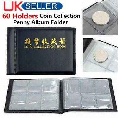 Coin Book Collection 60 Holder Penny Money Album 50P and 2 Pound Coins Practical