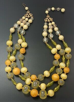 Vintage Mid Century Multi-stranded Bright Yellow & Peach Beaded Necklace