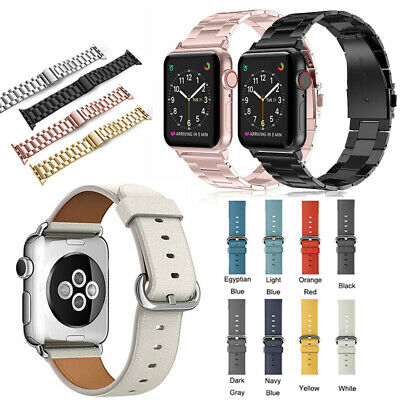 For Apple Watch Series 5 4 3 2 Strap Stainless Steel Metal/Leather Band 40/44mm