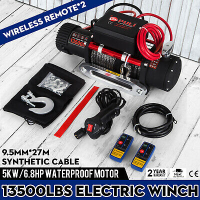 13500LBS 12V Electric Synthetic Rope Winch Recovery Remote Control SingleLine