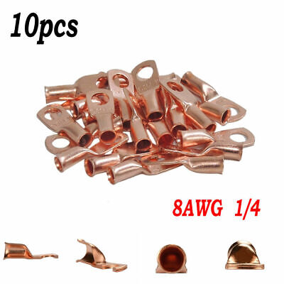 Wire Ring Terminal Copper 4 AWG Gauge #10 Connectors Car Audio Terminals New 4