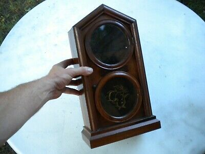 Beautiful Antique Wood Cathedral Mantle Clock Housing Part Fruit Display Window