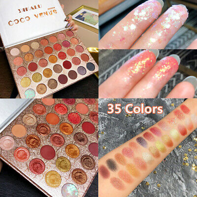 35 Colors Eyeshadow Palette Matte Pearlescent  Shimmer Glitter Eyeshadow New