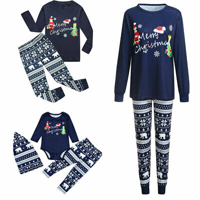 Family Matching Merry Christmas Pajamas Set Santa Casual PJs Sleepwear Nightwear