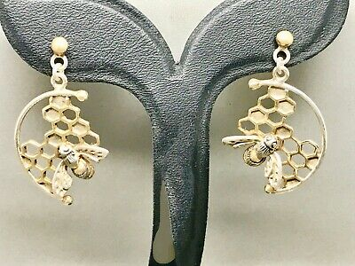 Lovely Sterling Silver Manchester Bee on HoneyComb Earrings + 9ct Gold features