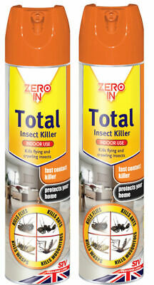 2 x ZERO IN TOTAL HOUSEHOLD ALL INSECT KILLER 300ML SPRAY NEW