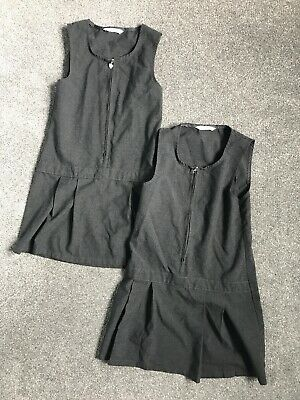 M&S 2 X Grey Age 6-7 School Pinafore Dresses two 2 girls