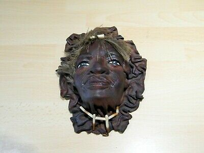 Chamois Leather with Feathers & Beads 3D Wall Mask