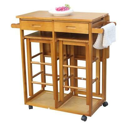 Square Solid Wood Folding Kitchen Island Trolley Cart Dining Table with 2 Stools