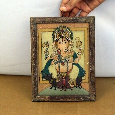 Wooden Framed Ganesha  Painting Glass   Collectible Vintage Beautifull- 11388