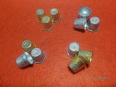 3 Metal Thimbles 18 mm Traditional Pitted Cup Tailor Sewing Quilting Silver Gold