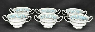 Wedgwood Florentine Turquoise Set of 6 Footed Cream Soup Bowls (No Saucers)