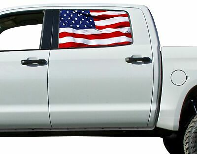 American Flag Waving Flying Rear Window Graphic Decal Truck SUV Perf Perforation