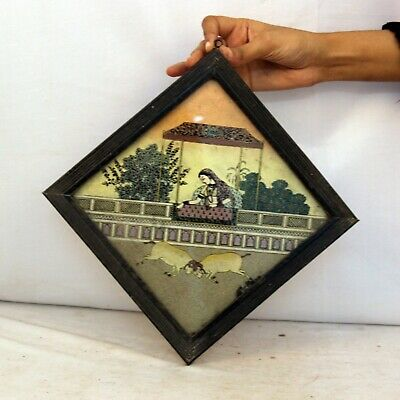 Wooden Framed Painting Glass   Collectible Vintage Beautifull - 11390