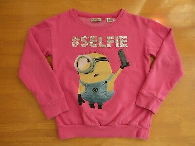 Next Pink Minions Despicable Me Sequinned #Selfie Sweater Jumper - Age 11 Years