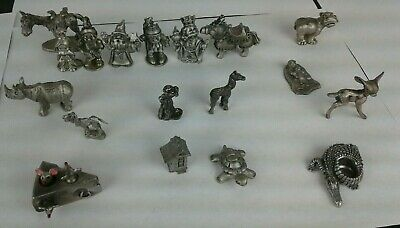 16 Piece Lot of PEWTER Figures Hudson Viking  Medieval Animal Rawcliffe Figures