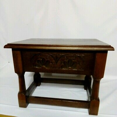 Antique Oak Stool, Sewing Box, Joint Stool. Art And Crafts. Lifting Lid