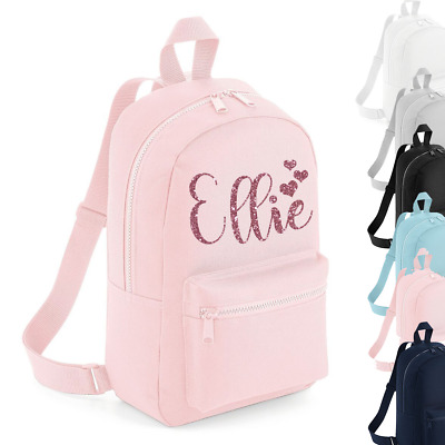 Personalised Name Mini Rucksack Backpack Butterfly Back to School Bag Hearts