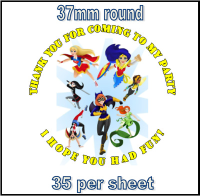 35 x Superhero Girls Personalised Party Bag Stickers Labels Thank you for coming