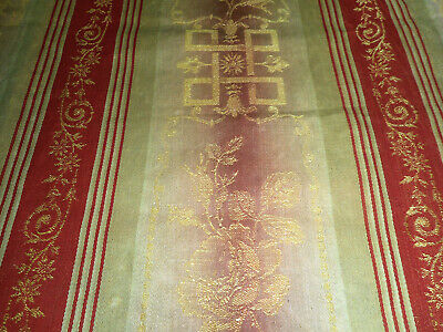 Antique French Roses Garland Greek Key Damask Ticking Fabric~Red Raspberry Gold