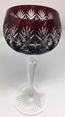 Antique Bohemian Cut to Clear Crystal Wine Hocks Goblet Cranberry Red Rare