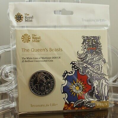 2020 Royal Mint Queen's Beasts White Lion of Mortimer Five Pound £5 BU Coin pack