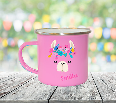 Personalised Llama Head Enamel Mugs Girl Gifts Birthday Christmas Gifts