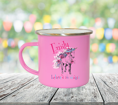 Personalised Unicorn Magic Enamel Mugs Girl Gifts Birthday Christmas Gifts